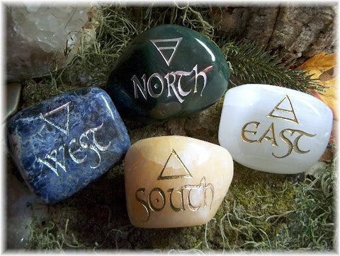 Elemental Direction Garden Stones© North, South, East & West with Elemental Colors & Symbols