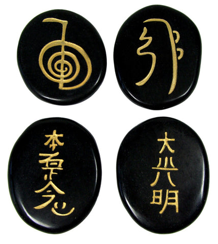 Black Obsidian Reiki Stones© set of 4 - Cast a Stone