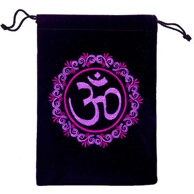 New! Embroidered Om Symbol velvet bag for Crystals, Cards and more! - Cast a Stone