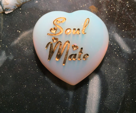 New! Soul Mate Intention Heart ~ Engraved Fiery Opalite crystal ~ The stone of Manifesting - Cast a Stone
