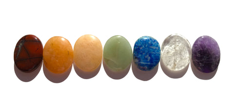 New! Oval Chakra Stones Balancing set of 7 - Cast a Stone