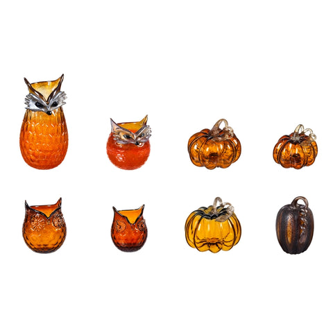 Amber Pumpkins, Owls, or Foxes Glass Décor