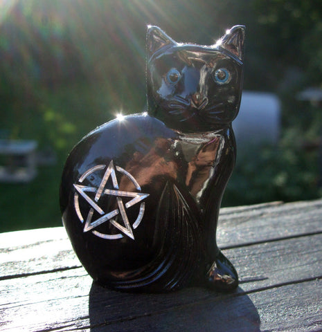 "Large 3.5"" Onyx Witch's Familiar Black cat with Silver engraving - Cast a Stone"