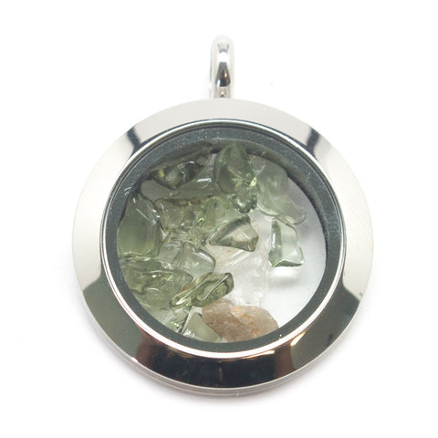 Moldavite and Phenacite Floating Locket Pendant