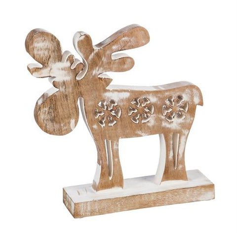 Wooden Carved Winter Moose Decor