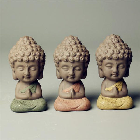 New purple flower pet Buddha statue figurine- tea pet - Cast a Stone