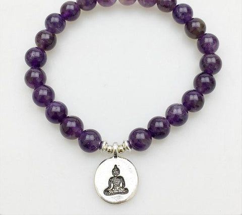 Amethyst Bead with Buddha charm Bracelet for men or women!