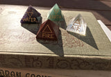 New! Elemental Direction Pyramids Earth, Air, Fire & Water with Elemental Colors & Symbols