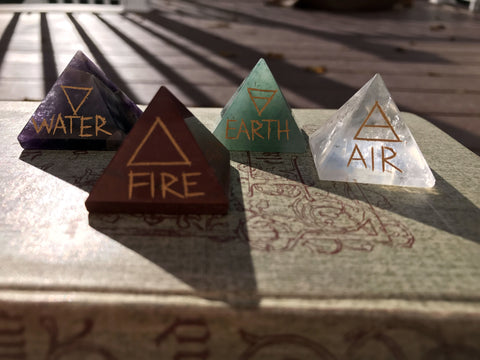 New! Elemental Direction Pyramids Earth, Air, Fire & Water with Elemental Colors & Symbols - Cast a Stone