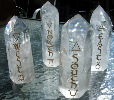Large Polished Quartz Points Directionals with Elemental symbols - Cast a Stone