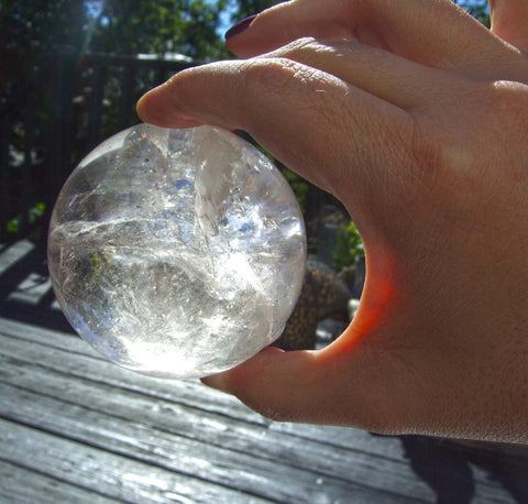 "Stunning 75mm Clear Quartz Sphere with ""Angel Wing"" inclusions - Cast a Stone"