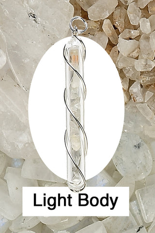 Light Body Crystal Vial Wire Wrap Pendant