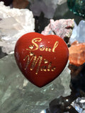 Soul Mate Intention Heart - Engraved stone in Red Jasper - Stone of Passion of Love - Cast a Stone