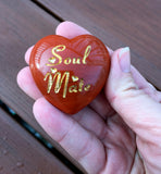 Soul Mate Intention Heart - Engraved stone in Red Jasper - Stone of Passion of Love