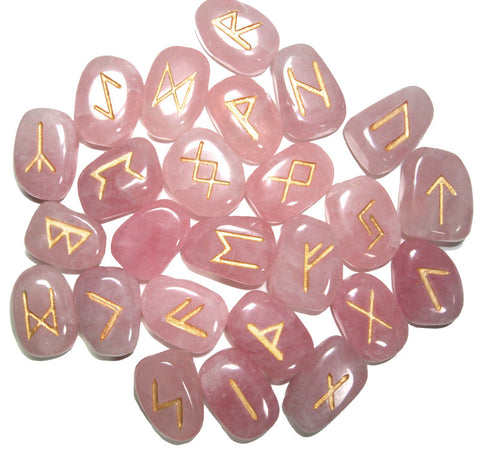 Rose Quartz Runes Set - Cast a Stone
