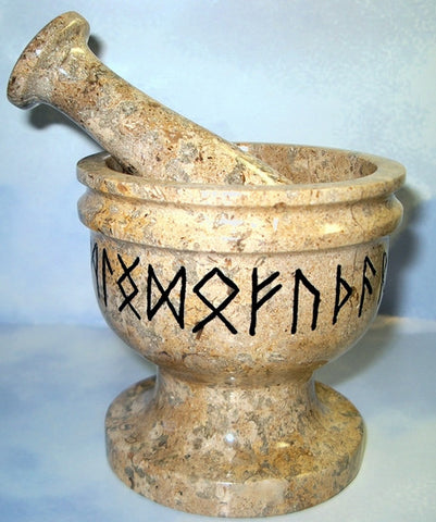 Runic Mortar and Pestle on Fossil -all 24 Rune symbols - Cast a Stone