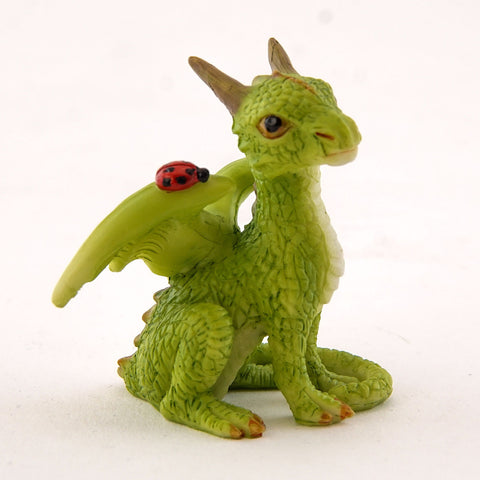Mini Green Dragon with Ladybug Figure
