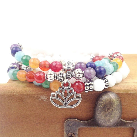 7 Chakra Lotus Symbol Pendant Mala Necklace/Bracelet Natural White Stone Prayer & Yoga Beads