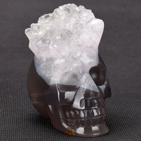 Geode Quartz Agate carved natural Crystal Skull - Cast a Stone