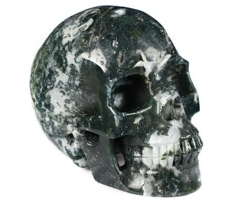 Moss Agate Natural Crystal Skull 5""