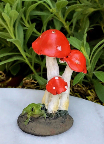 Mini Frog with Red Mushrooms Fairy Garden Miniature