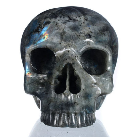 XL Large Labradorite Jawless Natural Crystal Skull