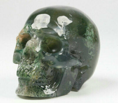 Green Moss Agate Natural Crystal Skull