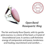 Open Band Sterling Ring with Rose Quartz