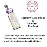 Rainbow Moonstone and Amethyst Sterling Pendant