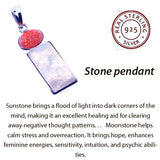 Rainbow Moonstone with Sunstone Pendant