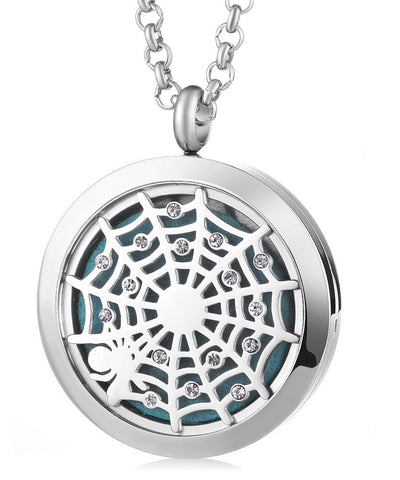 Spiderweb Aromatherapy Locket Pendant - Cast a Stone