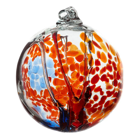 Spirit Ball in Orange hand blown Art Glass Ornament