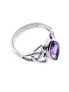 Celtic Knot Triquetra Amethyst Ring
