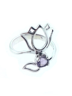Lotus Ring with Amethyst in Sterling