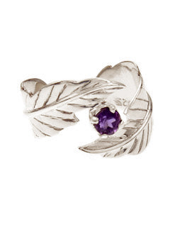 Lightness Feather Amethyst sterling Ring