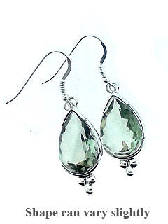 Green Amethyst Crystal Gemstone Earrings