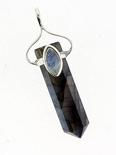 Labradorite & Moonstone Stone Pendant Point