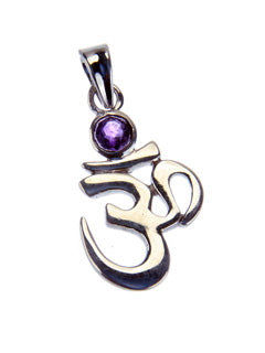 Sterling Ohm Pendant with Amethyst Gemstone
