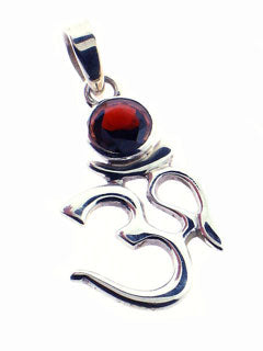 Sterling Ohm Pendant with Garnet Gemstone
