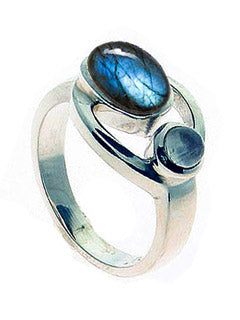 Goddess Symbol Labradorite and Moonstone Ring