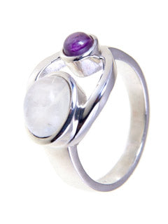 Goddess Symbol Amethyst and Moonstone Ring
