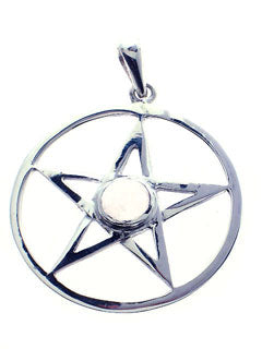 Sterling Pentacle Pendant with Rose Quartz