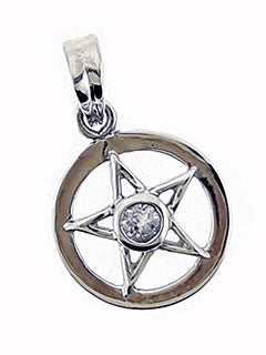 Sterling Pentacle Pendant with Blue Topaz