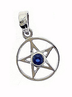 Sterling Pentacle Pendant with Blue Kyanite