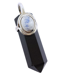 Black Tourmaline & Moonstone Stone Pendant Point