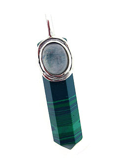Malachite & Moonstone Stone Pendant Point