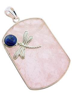 Rose Quartz Dragonfly Sterling Silver Pendant
