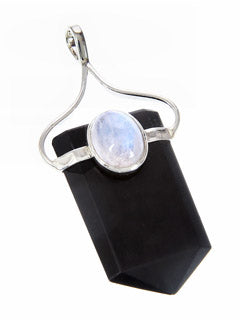 Black Tourmaline and Moonstone Point Sterling Silver Pendant