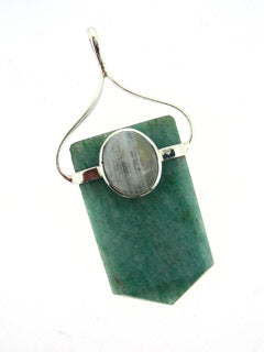 Jade and Moonstone Healer Point Pendant