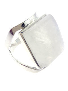 Square Rainbow Moonstone Silver Ring